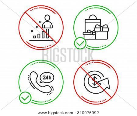 Do or Stop. 24h service, Stats and Shopping icons simple set. Dollar exchange sign. Call support, Business analysis, Holiday packages. Money refund. Business set. Line 24h service do icon. Vector poster