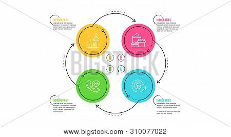 24h service, Stats and Shopping icons simple set. Infographic timeline. Dollar exchange sign. Call support, Business analysis, Holiday packages. Money refund. Business set. Cycle infographic. Vector poster
