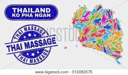 Tools Ko Pha Ngan Map And Blue Thai Massage Textured Seal. Colorful Vector Ko Pha Ngan Map Mosaic Of