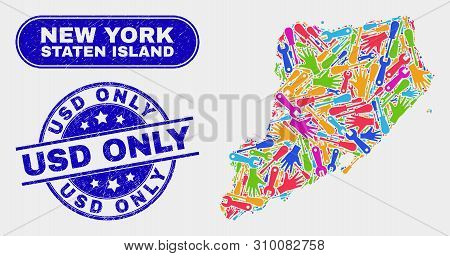 Productivity Staten Island Map And Blue Usd Only Grunge Seal. Colored Vector Staten Island Map Mosai