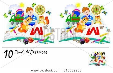 Logic Puzzle Game For Children And Adults. Need To Find 10 Differences. Printable Page For Baby Brai