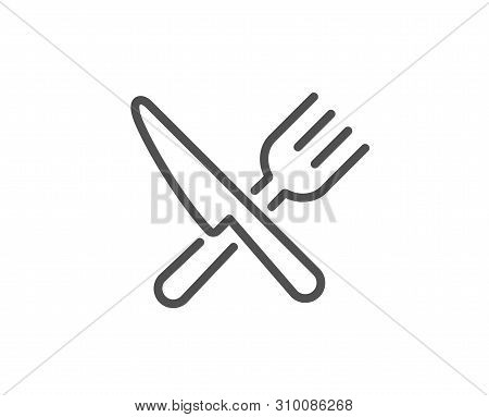 Food Line Icon. Cutlery Sign. Fork, Knife Symbol. Quality Design Element. Linear Style Food Icon. Ed