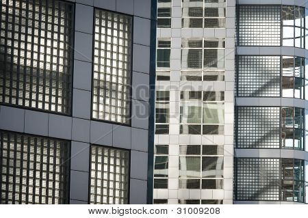 Glass wall with windows