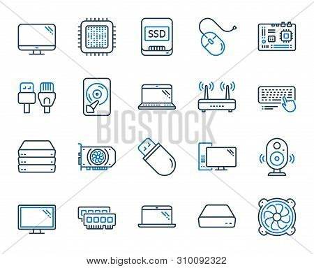 Computer Components, Laptop, Ssd Line Icons. Motherboard, Cpu, Internet Cables Icons. Wifi Router, C