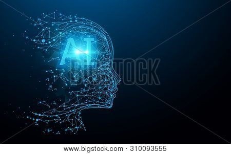 Ai - Artificial Intelligence. Ai Digital Brain. Robotics Concept. Human Face Made From Polygon. Illu