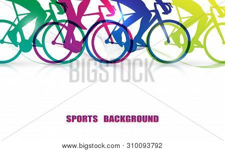 Sports People Riding Bicycles. Close Up Colorful Leg And Bike Graphic. Illustration Vector