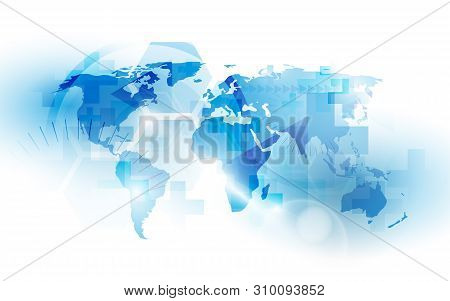 World Countries Map With Health And Medicine Concept. Abstract Blue And White Technology Background