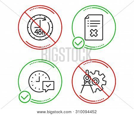 Do Or Stop. 48 Hours, Reject File And Select Alarm Icons Simple Set. Cogwheel Dividers Sign. Deliver