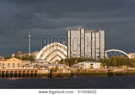 Riverside Landmarks At Sunset In Glasgow, Scotland