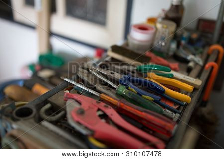 Different Construction Tools With Hand Tools For Home Renovation And Maintenance And Reparing Concep