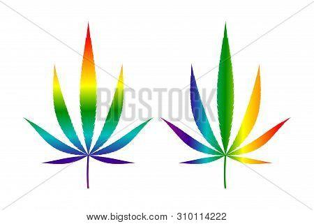 Lgbt Flag Rainbow Colored Hemp Leaf. Isolated On White Background