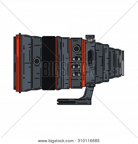 Line Color Vector Icon Digital Photographer Professional Equipment. Photography Art. Photographic Ca