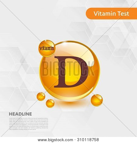 Vitamin D Gold Shining Icon, Cholecalciferol. Golden Vitamin Complex With Chemical Formula Substance
