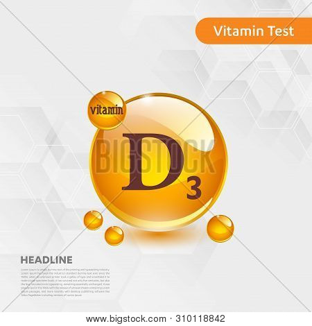 Vitamin D3 Gold Shining Icon, Cholecalciferol. Golden Vitamin Complex With Chemical Formula Substanc