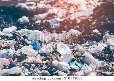 Pollution Concept. Garbage Pile In Trash Dump Or Landfill. Garbage Dump, Various Trash And Waste Mat