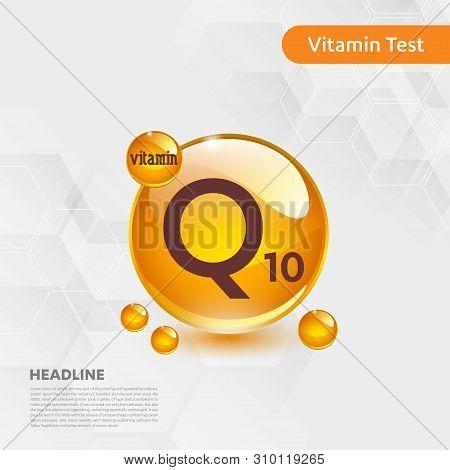 Vitamin Q10 Gold Shining Icon, Cholecalciferol. Golden Vitamin Complex With Chemical Formula Substan