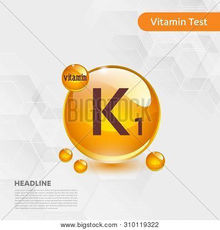 Vitamin K1 Gold Shining Icon, Cholecalciferol. Golden Vitamin Complex With Chemical Formula Substanc