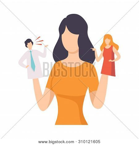 Young Woman Manipulating People Like Puppets, People Controlled By Puppet Master Vector Illustration