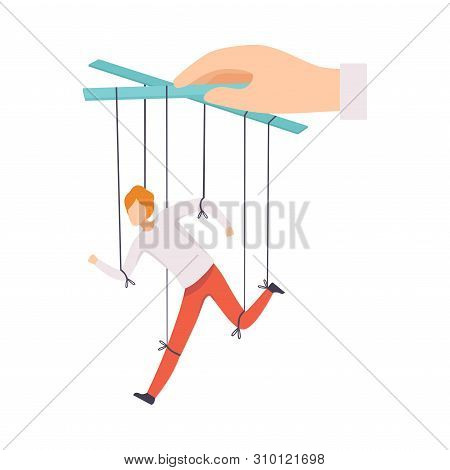 Male Marionette On Ropes Controlled By Hand, Manipulation Of People Concept, Running Male Manager Un
