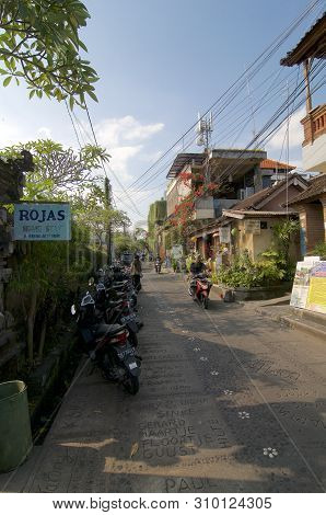 Ubud, Bali, Indonesia - 15th May 2019 : View On The Jalan Kajeng Road One Of The Most Characteristic