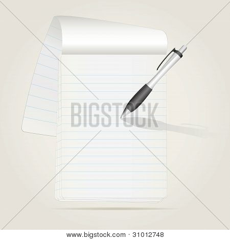 notebook with a curved sheet and pen