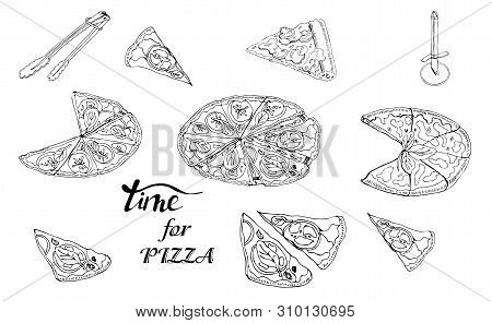 Whole And Sliced  Pizza And Knife. Hand Drawn Ink Sketch. Slice Of Pepperoni, Margarita,  Mushroom.