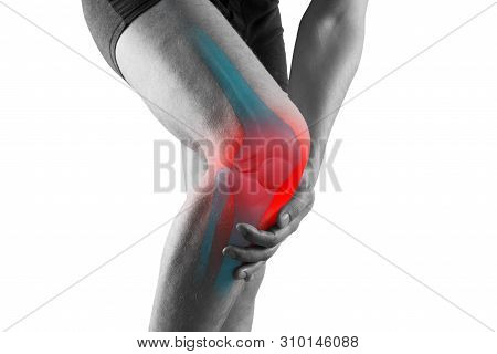 Knee Pain, Man With Legs Ache, Chiropractic Treatments Concept, Isolated On White Background
