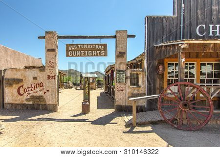 Tombstone, Arizona, Usa - May 1, 2019: Wild West Frontier Style Facade Of The Old Western Theme Park