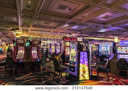 Las Vegas, Nevada, Usa - May 6, 2019: Early Morning At The Slot Machines In The Bellagio Casino. The