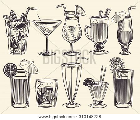 Hand Drawn Cocktails. Sketch Cocktails And Alcohol Drinks, Cold Beverages Different Glasses. Restaur