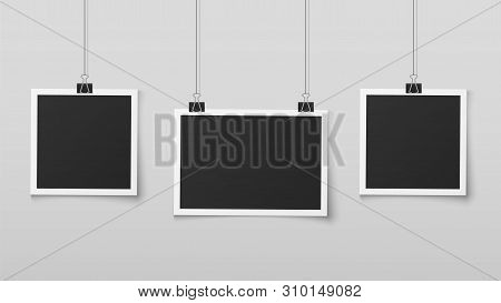 Hanging Photo Frames. Blank Photos Frame Hangs On Ropes With Clips, Wall Memory, Retro Image Memorie