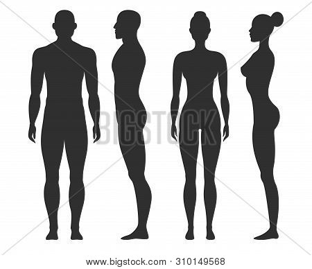 Man And Woman Silhouettes. Human Body Outline Shapes In Side And Front View. Standing Male And Femal