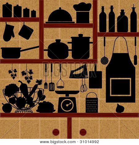 Restaurant And Kitchen Related Symbols On Tiled Background 2