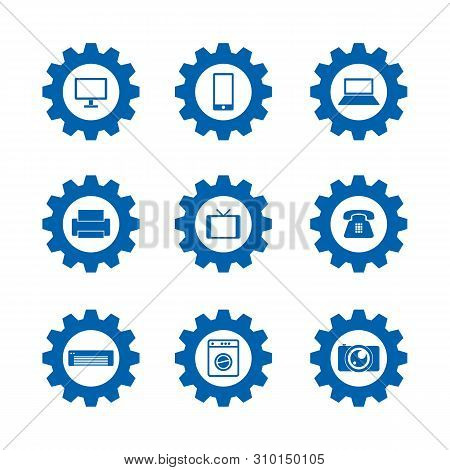 Set Of Setting Icon Technology Vector Design Isolated On White Background. Setting Icon Print, Phone