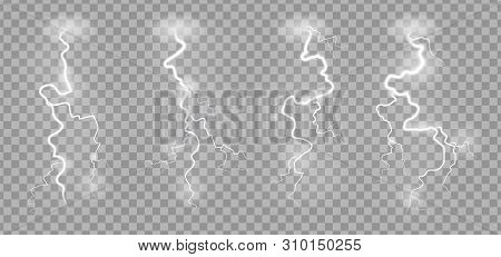 Storm Lightnings. Blitz Realistic Electric Sky Lightning On Transparent Background With Power Strike