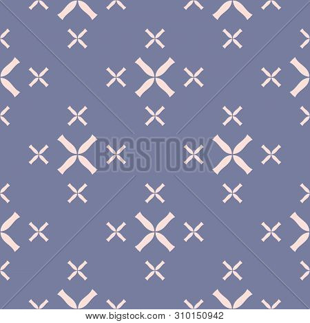 Vector Geometric Seamless Pattern With Small Flower Silhouettes, Crosses. Elegant Minimal Texture In