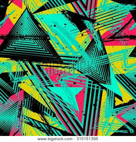 Abstract Neon Seamless Geometric Pattern. Colorful Sport Style Vector Illustration. Grunge Urban Art