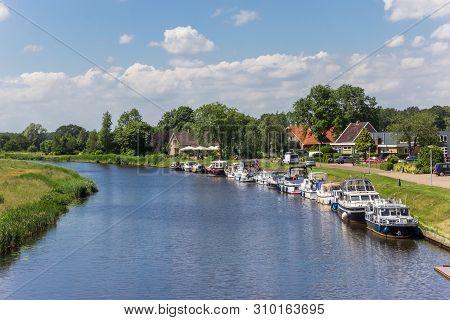 Motorboats Along The Canal Near Echten, Netherlands