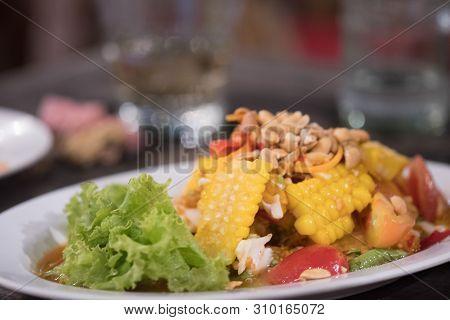 Colse Of Sweet Corn Salad, Thai Style Food