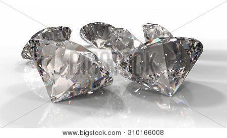 Close-up View Of A Clear Round Brilliant Cut Diamond With Caustics Rays On White Background. 3d Rend