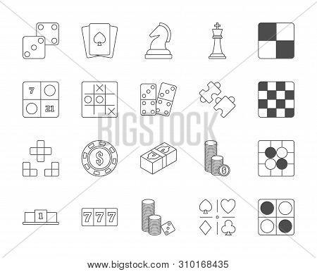 Line design icon set of puzzle, casino and board video game and esport concept. Editable stroke vector icon. poster