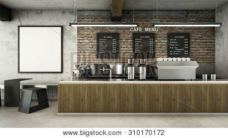 Cafe Shop  Restaurant Design Minimalist   Loft,counter Wood Slat,top Counter Metal,mock Up On Wall C
