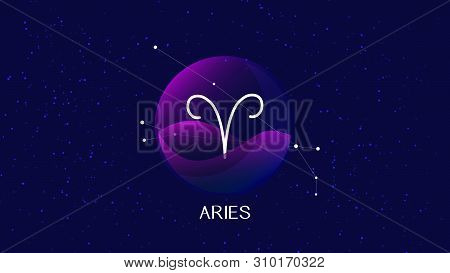 Beautiful And Simple Vector Image Representing Night, Starry Sky With Aries Zodiac Constellation Beh