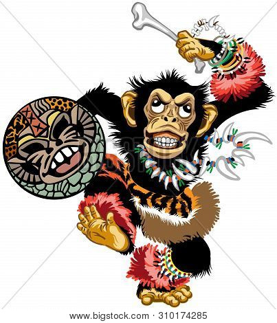 Cartoon Chimp Ape Or Chimpanzee Monkey The African Shaman Dancing With A Drum And Wearing Jewelry. E