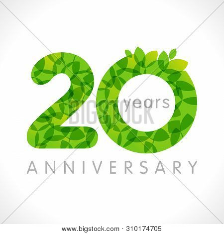 20 Th Anniversary Numbers. 20 Years Old Logotype. Age Congrats, Congratulation Idea With Leaves. Iso