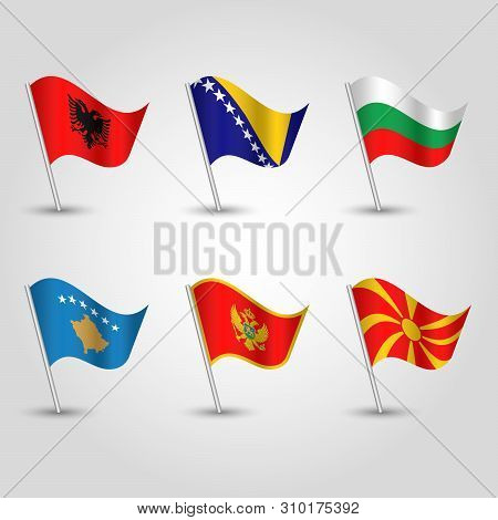 Vector Set Of Waving Flags Balkan Peninsula On Silver Pole - Icon Of States Southeastern Europe - Al