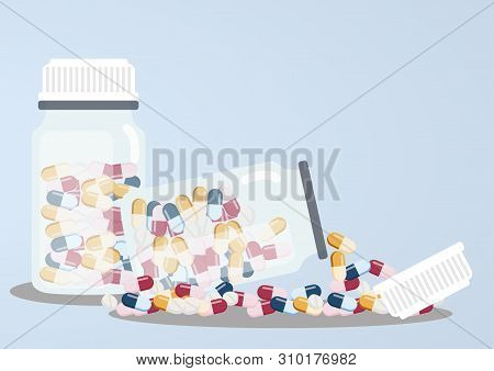 Medicine Vector Concept. Bottles With Drugs And Pills In Blisters In Flat Style.medicine Bottle Of M