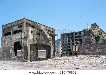 Destroyed Buildings On Gunkajima (hashima Island ) In  Nagasaki Japan
