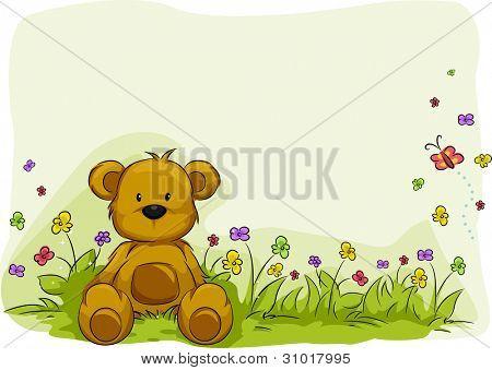 Ilustración de un oso de juguete, rodeado de plantas