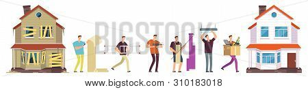 Home Renovation Vector. Man Repairs House Illustration. Renovation And Repair House, Man Worker, Con